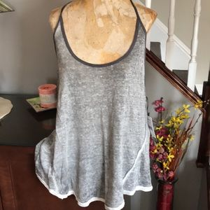 Free people graphite combo linen oversized tank